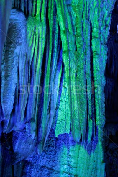 Illuminated stalactites Stock photo © EcoPic