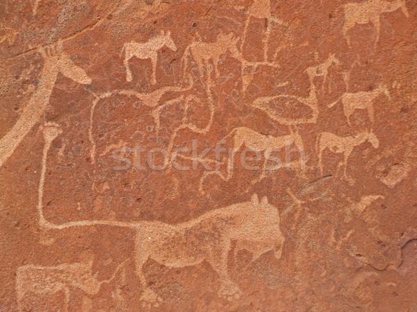 Rock afrikaanse wildlife archeologische plaats Namibië Stockfoto © EcoPic