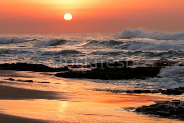 морской пейзаж Восход Размышления пород передний план Сток-фото © EcoPic
