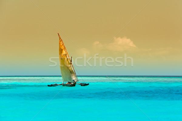 Houten zeilboot water turkoois hemel natuur Stockfoto © EcoPic