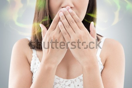 Asian woman use both hands close mouth for not commenting or ref Stock photo © eddows_arunothai