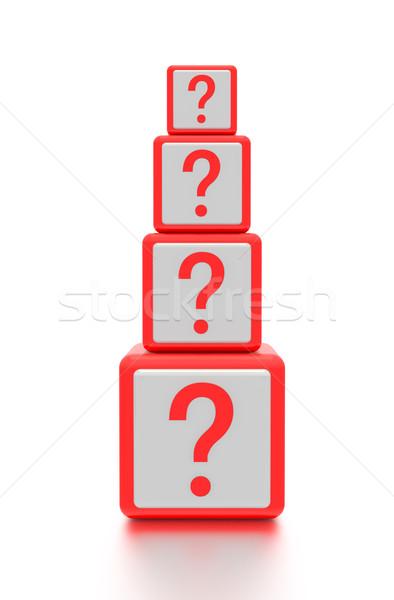 Vraagteken grafische gerenderd witte zachte schaduw Stockfoto © edgeofmadness
