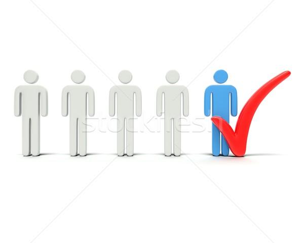 Controleren mensen groot Rood 3D Stockfoto © edgeofmadness