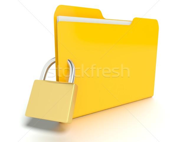 Photo stock: Sécurité · dossier · fichiers · 3D · graphique · rendu