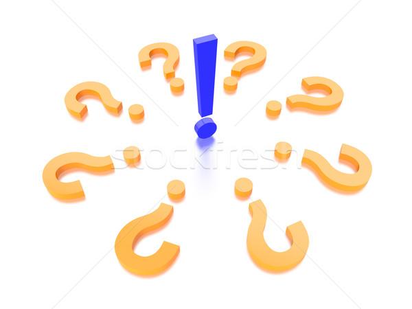 Soru işareti grafik render beyaz yumuşak gölge Stok fotoğraf © edgeofmadness