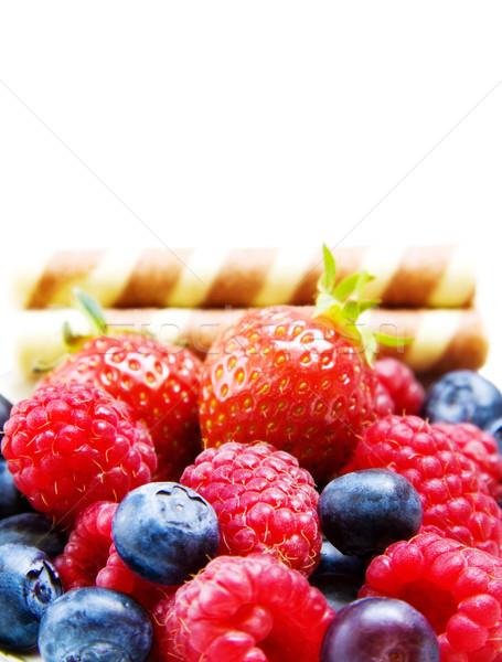 Framboesa morango branco frutas prazer Foto stock © Eireann