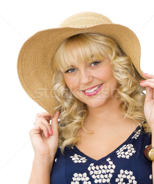 Verão férias belo mulher jovem chapéu de palha diversão Foto stock © Eireann