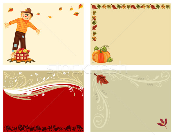 Outono conjunto cartões bonitinho espantalho maçã Foto stock © Eireann