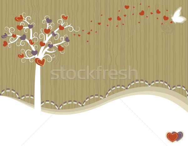 árvore amor cartão valentine dia corações Foto stock © Eireann