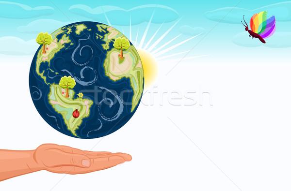 保存 美しい 緑 地球 人の手 提供すること ストックフォト © Eireann
