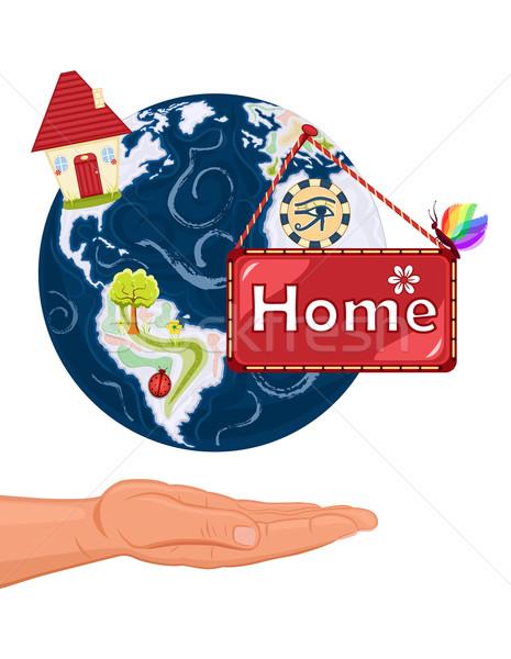 Otthon édes otthon Föld mentés otthon bolygó kéz Stock fotó © Eireann