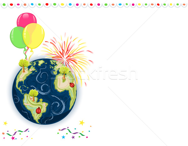 Föld napja üdvözlőlap ünneplés léggömbök tűzijáték konfetti Stock fotó © Eireann