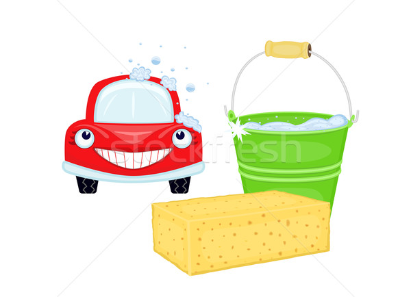 Car wash with happy vehicle Stock photo © Eireann