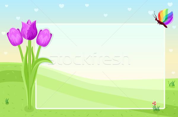 Primavera cartão chegada tulipas borboleta Foto stock © Eireann