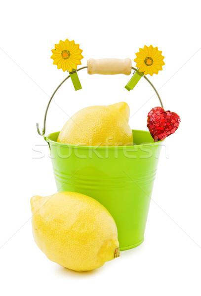 Fresco limões verde balde saudável nutrição Foto stock © Eireann