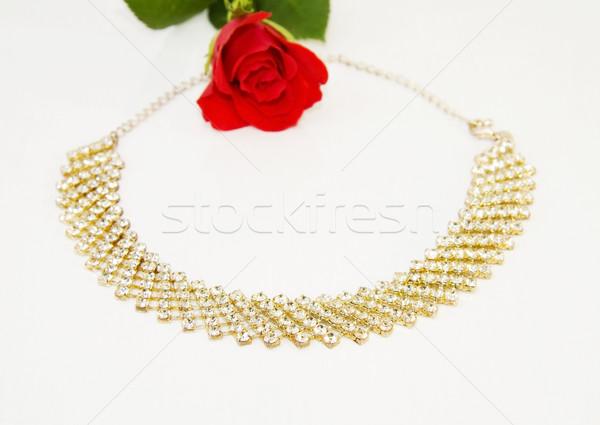 Sevmek elmas bağbozumu kolye kırmızı gül yalıtılmış Stok fotoğraf © Eireann