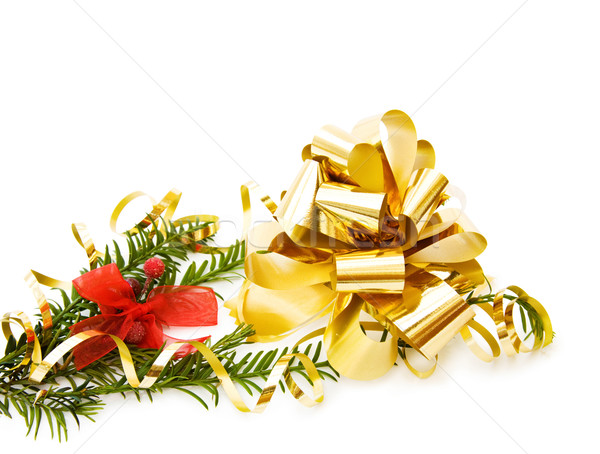 Stock photo: Christmas pine tree branch and decoration