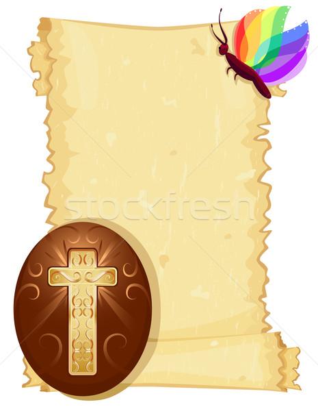 Ovo de páscoa papel velho rolar páscoa cartão cristão Foto stock © Eireann