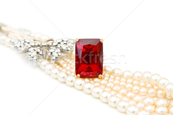 Red ruby ring and pearls Stock photo © Eireann