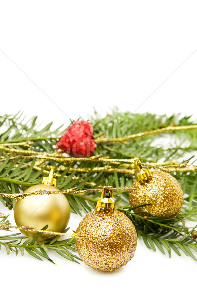 Christmas golden baubles and heart Stock photo © Eireann