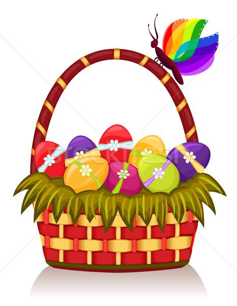 Páscoa cesta decorado ovos Foto stock © Eireann