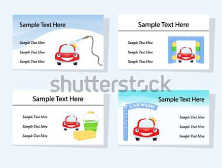 Set of four car wash business cards Stock photo © Eireann