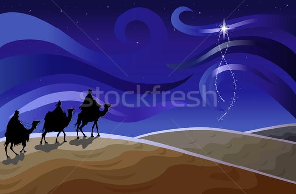 Stock fotó: Három · bölcs · férfiak · csillag · vallásos · karácsonyi · üdvözlet