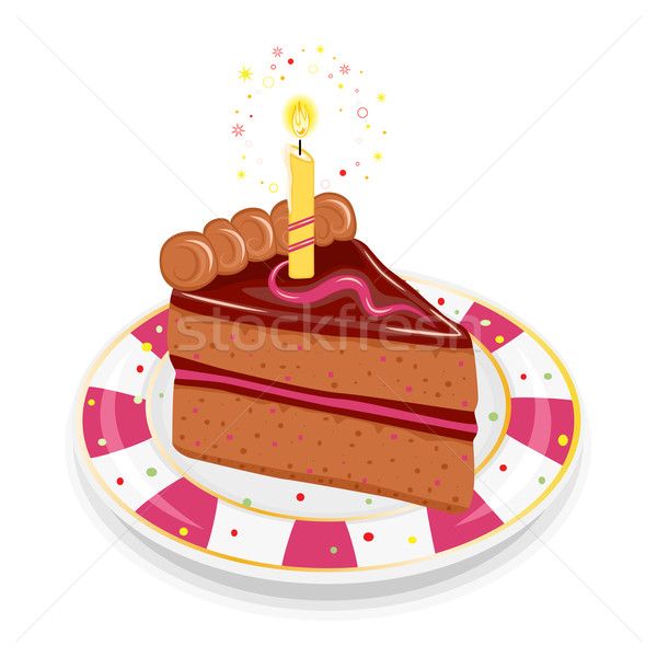 Festive birthday cake with candle Stock photo © Eireann