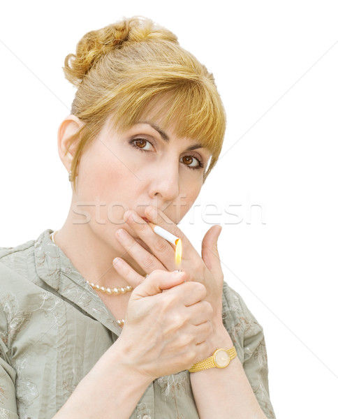 Addiction - woman smoking Stock photo © Eireann