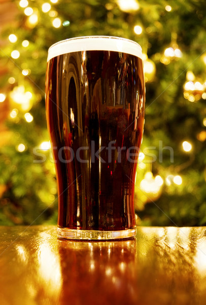 Christmas with Irish pint of black beer Stock photo © Eireann