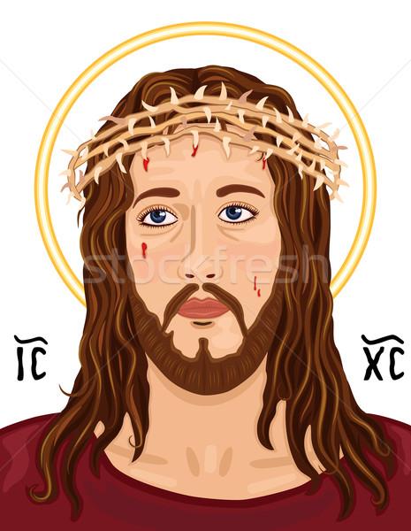 Portrait of Jesus Christ with Christogram Stock photo © Eireann