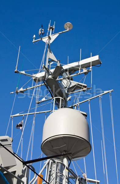 Radar and GPS on military ship Stock photo © Eireann