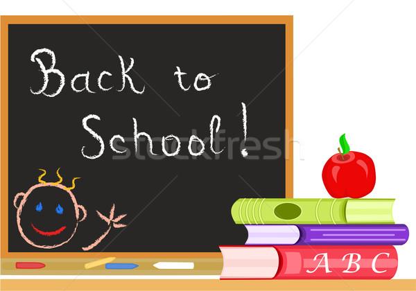 Zurück in die Schule Nachricht Tafel Klassenzimmer Vektor Datei Stock foto © Eireann