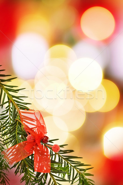 Christmas festive border with pine tree branch Stock photo © Eireann