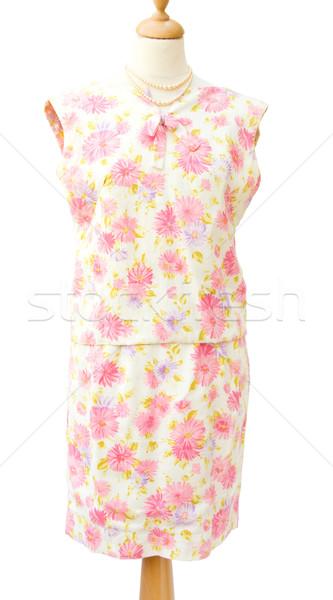 Vintage 1950 kwiecisty kobiet garnitur prawdziwy Zdjęcia stock © Eireann