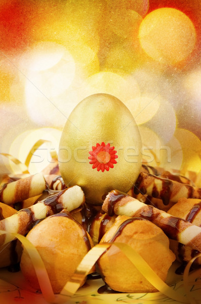 Сток-фото: Пасху · золотые · яйца · украшенный · шоколадом