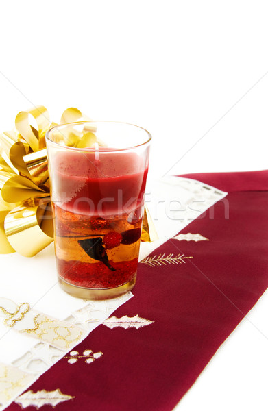 Christmas dinner with red candle Stock photo © Eireann