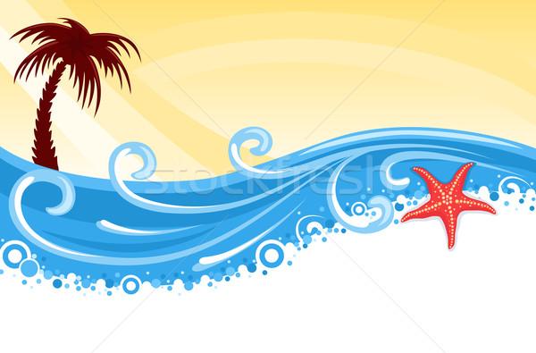 熱帯ビーチ バナー ヤシの木 星 魚 青 ストックフォト © Eireann