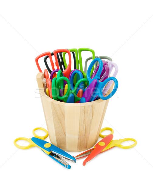 Kolorowy rękodzieła nożyczki wiadro odizolowany Zdjęcia stock © Eireann