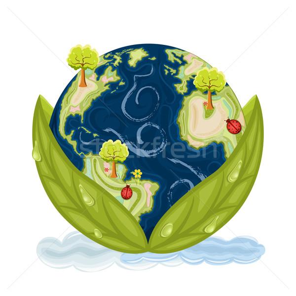 Zöld Föld bolygó Föld bent zöld levelek Stock fotó © Eireann