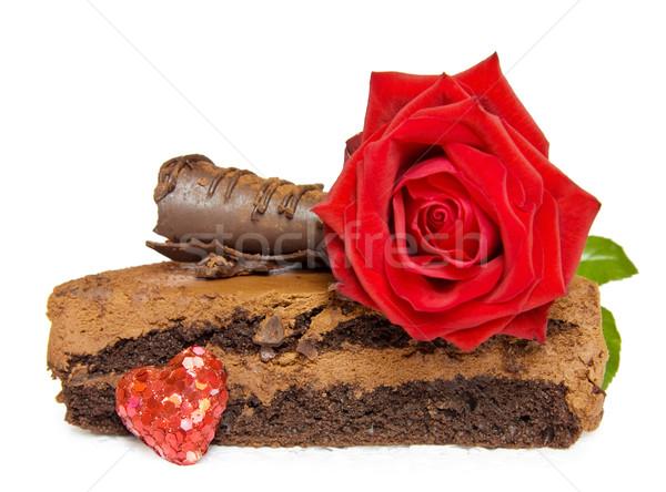 Boldog születésnapot ünnepi torta valentin nap piros rózsa pezsgő Stock fotó © Eireann