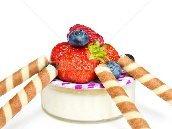 Yoghurt dessert with strawberry Stock photo © Eireann