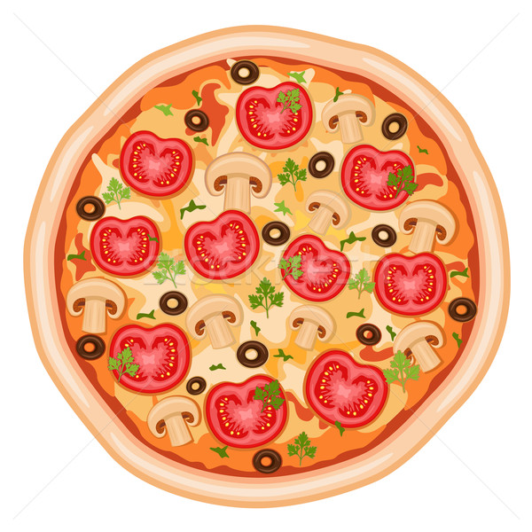 Pizza Marguerita with tomatoes Stock photo © Eireann