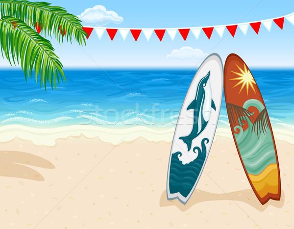 Surfar praia tropical férias paraíso surfe vetor Foto stock © Eireann