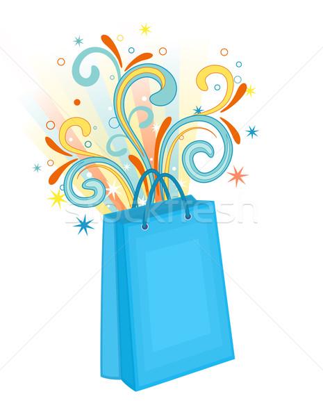 Alışveriş çantası mavi rays süslemeleri Stok fotoğraf © Eireann