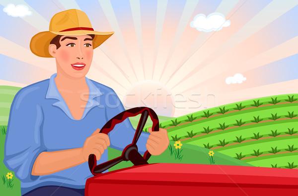 Jeans condução trator campos feliz belo Foto stock © Eireann