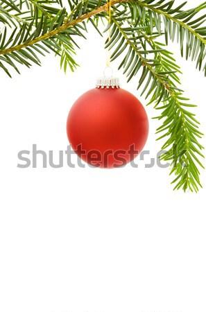 Foto stock: Natal · fronteira · vermelho · bugiganga · pinheiro
