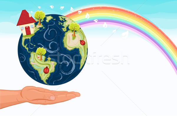 Mentés zöld Föld verekedés globális felmelegedés gyönyörű Stock fotó © Eireann