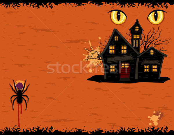 Grungy Halloween party card with ghosts mansion Stock photo © Eireann
