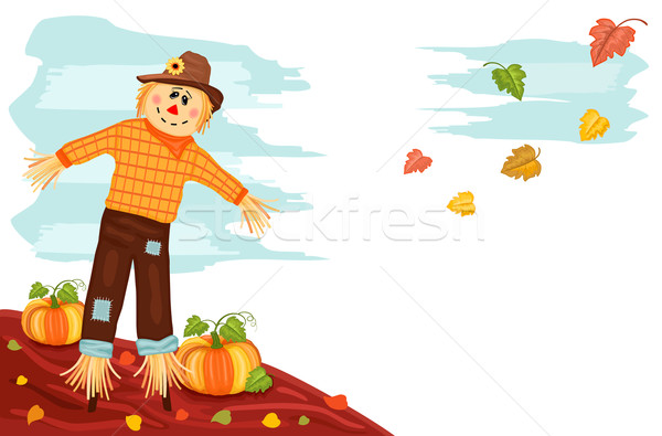 Autumn - Pumpkin and Scarecrow Stock photo © Eireann